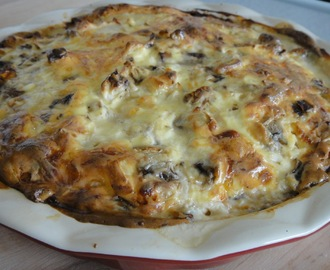 Tarta z kurczakiem i pieczarkami/ Tart with chicken and champignons