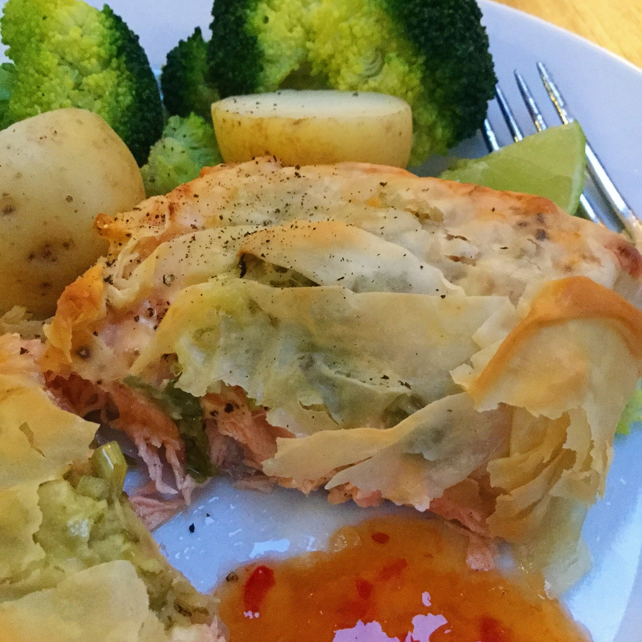 Thai Salmon Filo parcels