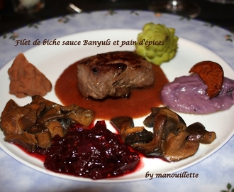 Filet de biche sauce Banyuls et pain d'épices