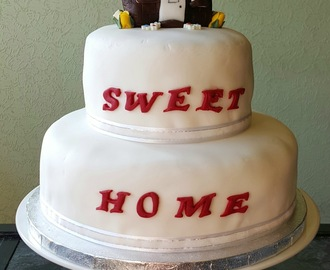 Recipe/Tutorial - 'Home Sweet Home' Victoria sponge celebration cake #GBBOBloggers2015