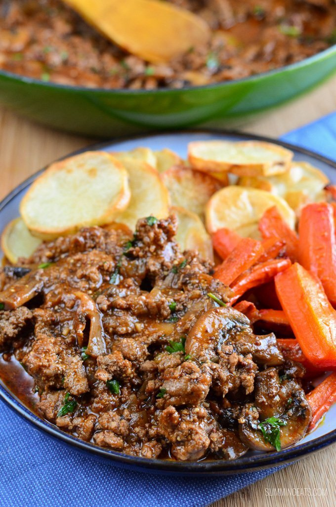 Minced beef and mushrooms
