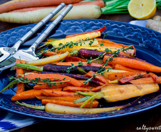 Maple, Ginger and Thyme Glazed Carrots and Sweet Potatoes