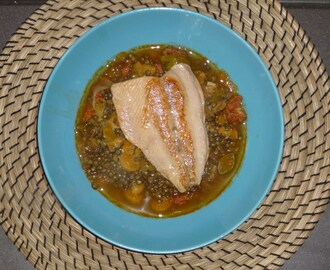 Fish Friday – Sea Trout Fillets on a Chorizo, Leek and Lentil Ragu Recipe