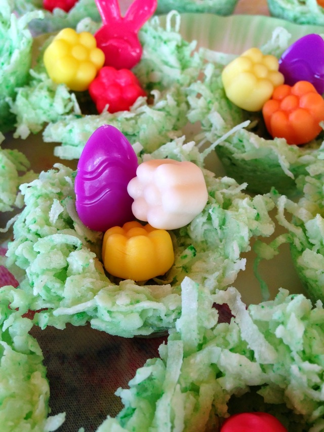 White Chocolate Coconut Nests and Jello Beans