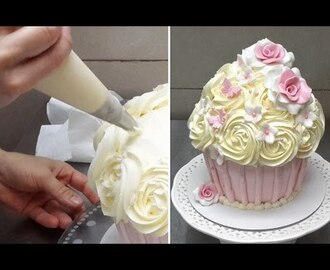 How To Make a Huge Cupcake Decorated with Buttercream Frosting by Cakes StepbyStep