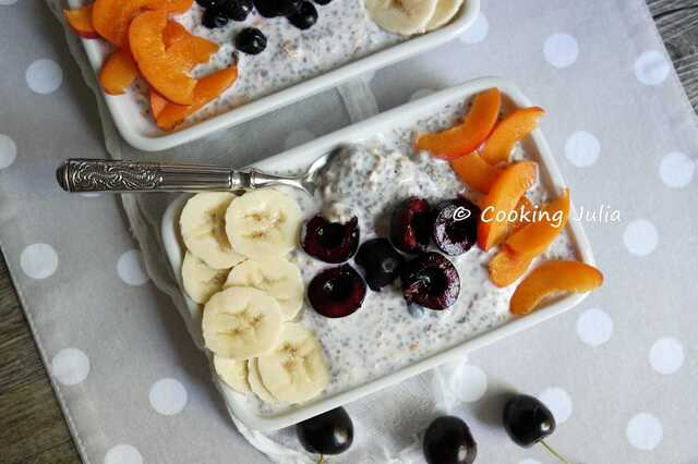 OVERNIGHT PORRIDGE AU MUESLI, CHIA ET FRUITS