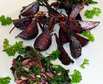CARAMELIZED ROASTED BEETS + SAUTEED BEET TOPS (REMOLACHA CARAMELIZADA CON SUS TALLOS)