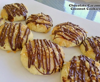 Chocolate Caramel Coconut Cookies