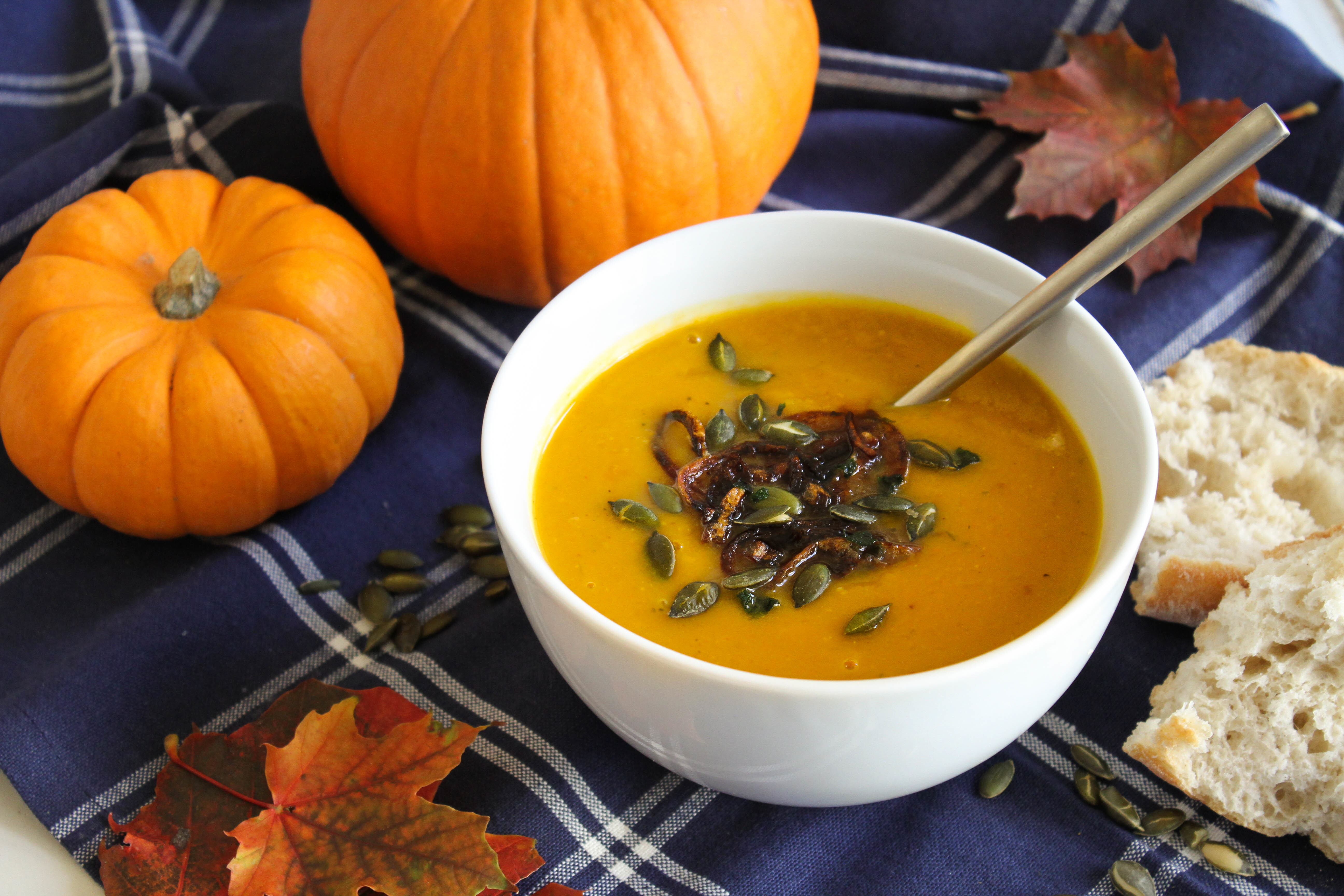 Roasted Pumpkin and Sage Soup with Crispy Shallots and Pumpkin Seeds