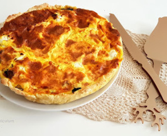 Tarte aux épinards, champignons, chèvre frais et curry (Spinach, mushrooms, fresh goat cheese and curry tart)