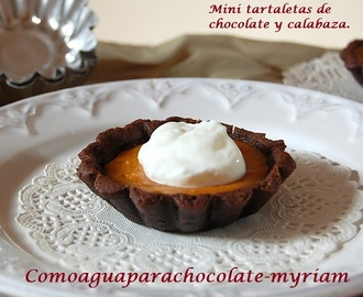 MINI TARTALETAS DE CHOCOLATE Y CALABAZA.
