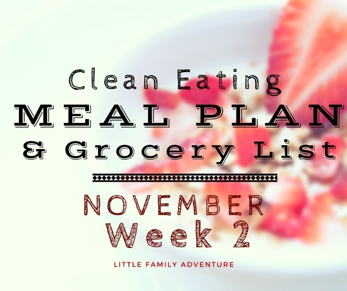 Clean Eating Meal Plan Grocery List – November Week 2