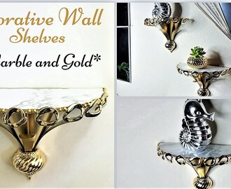 Diy Marble and Gold Wall Shelves| 5 minutes Decor Hack| Simple and Inexpensive!