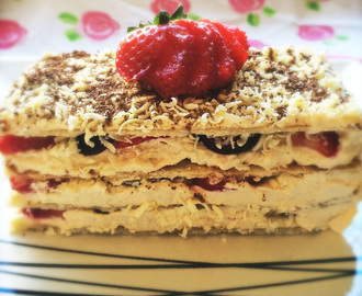 Strawberry, Black Cherry, White and Dark Chocolate Mille-feuille (GF)
