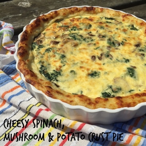 Cheesy Spinach, Mushroom & Potato Crust Pie with Barber's 1833 Vintage Reserve Cheddar