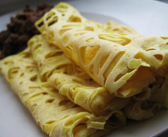 Roti Jala (Malaysian Lacey Coconut and Turmeric Crepes)