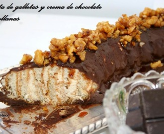 Tarta de galletas y crema de chocolate y avellanas