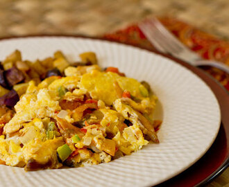 Southwestern Migas (Scrambled Eggs, Green Chile and Tortillas)