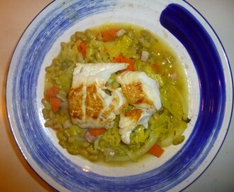 Pan Fried Haddock on a Cabbage and Flageolet Bean Stew Recipe