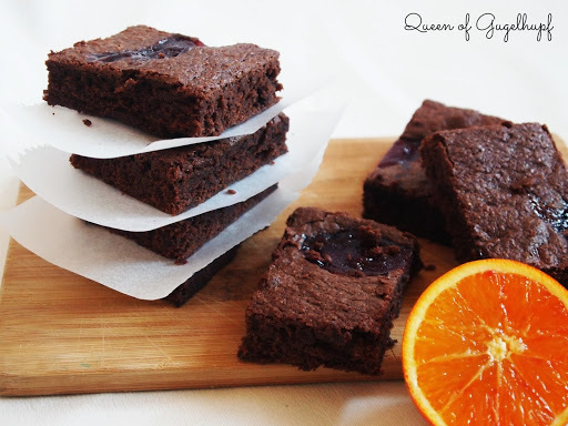 Chocolate Brownies with Raspberry Jam