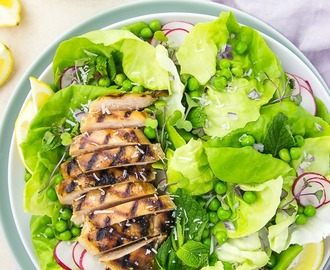 Grilled Honey Chicken & Pea Salad {with Creamy Mustard Vinaigrette}