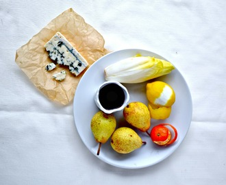 Easy Holiday Starter Recipe – Port Poached Pears, Belgian Endive & Blue Cheese Salad