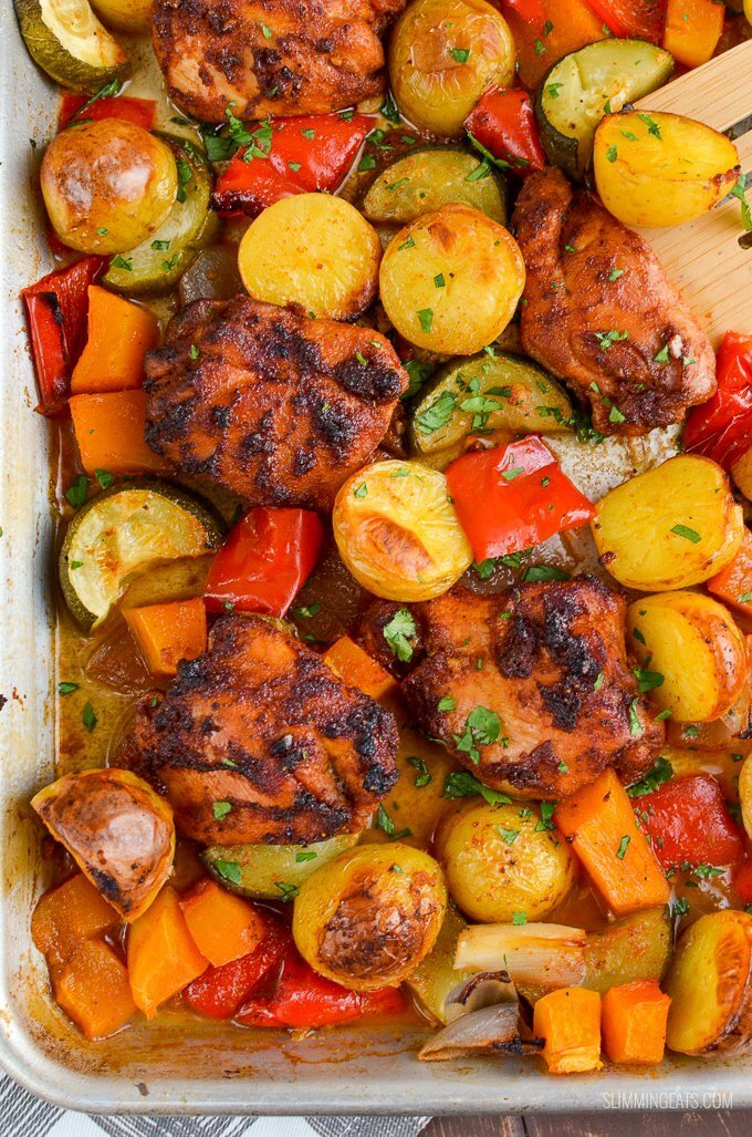 Low Syn Chicken, Potato, Vegetable Tray Bake