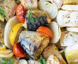 Bake Mackerel with Vegetables and Lemon | Recipe | Mackerel recipes, Baked mackerel, Mackerel fillet recipes