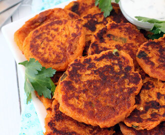 Spicy Sweet Potato Fritters with Sour Cream Dipping Sauce