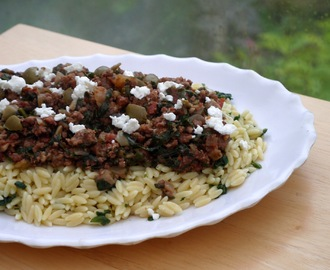 Greek Lamb with Lemon Orzo, Olives and Feta.