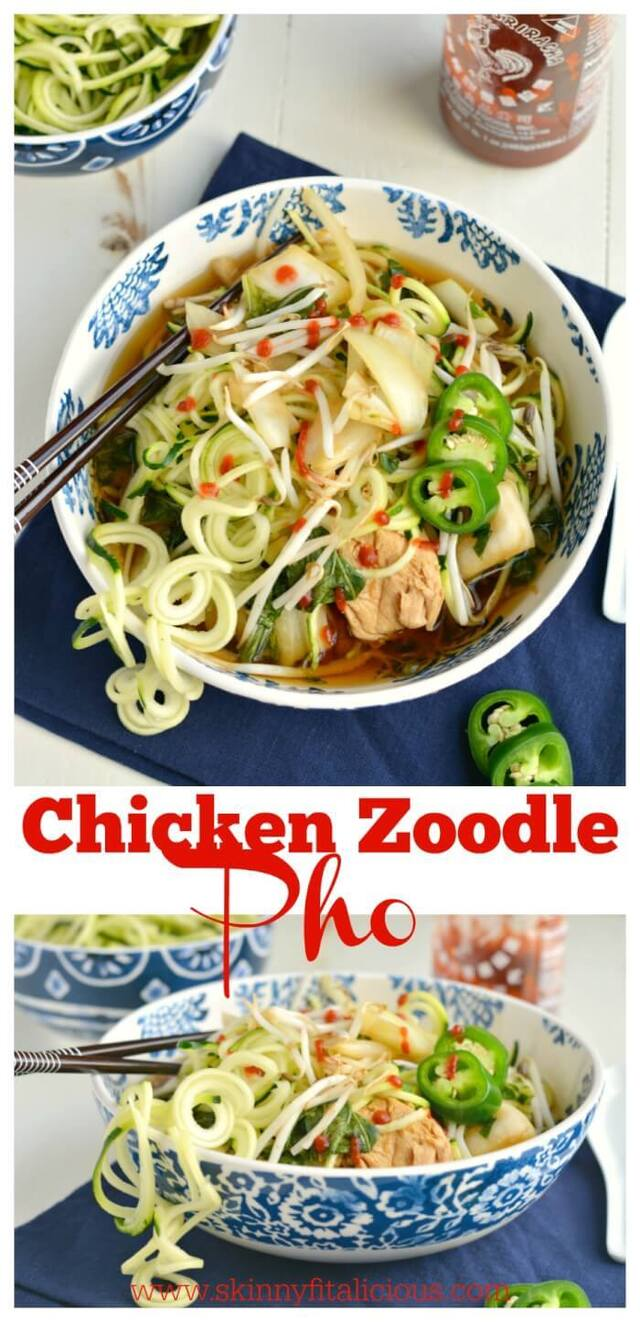 Chicken Zoodle Pho {GF, Paleo, Low Cal}