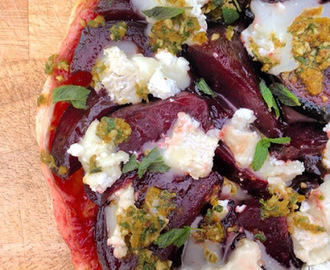 beetroot tarte tatin with goats cheese & caramelised orange & mint chermoula