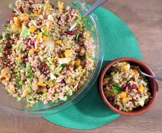 Butternut Farro Salad with Brussels Sprouts, Dried Cranberries and Toasted Pecans