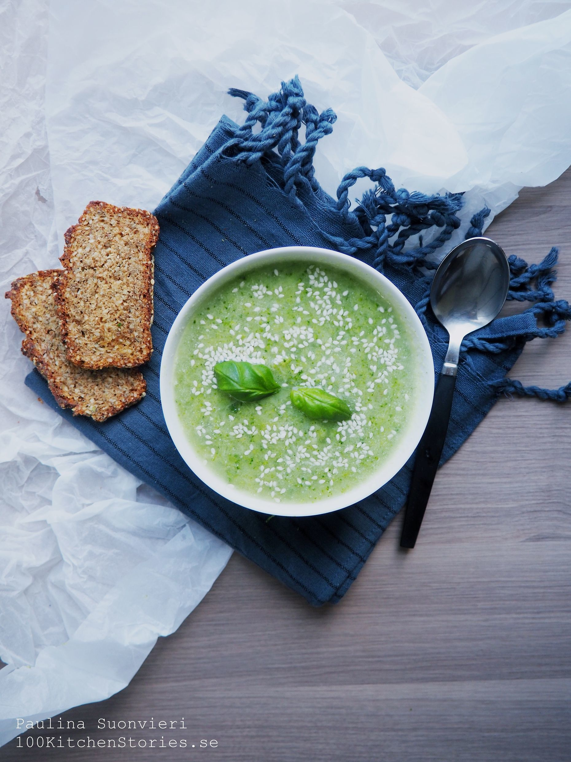 Vegan Broccoli Soup with Fresh Basil