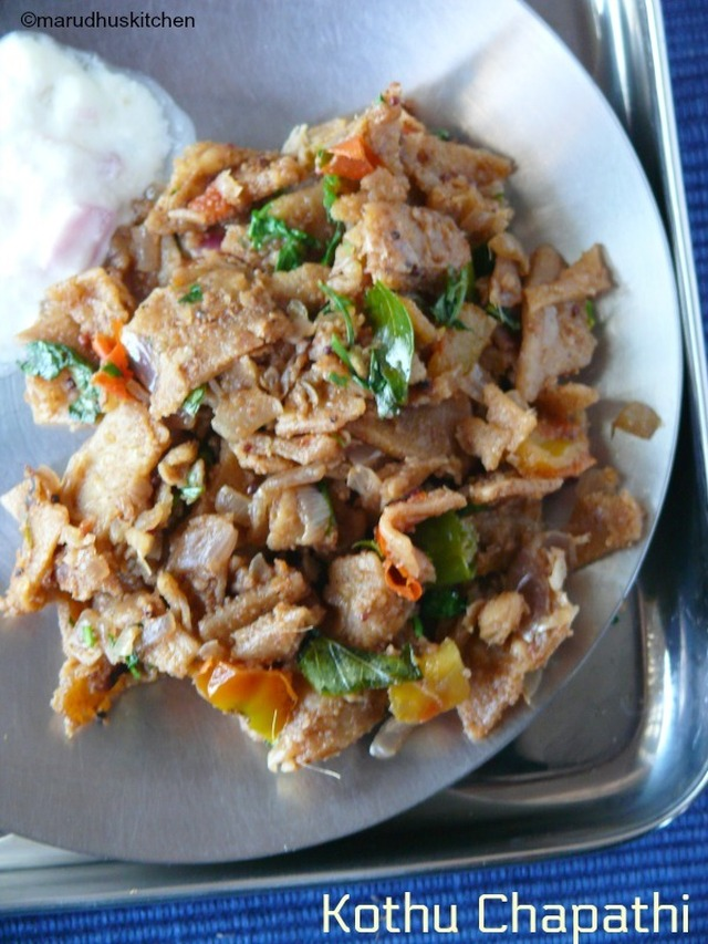 kothu chapathi recipe /with left over chapathi without eggs