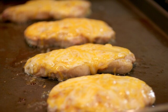 Cheesy Garlic & Brown Sugar Pork Chops