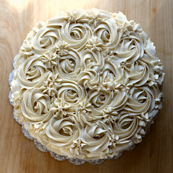 Almond Caramel Rose Cake