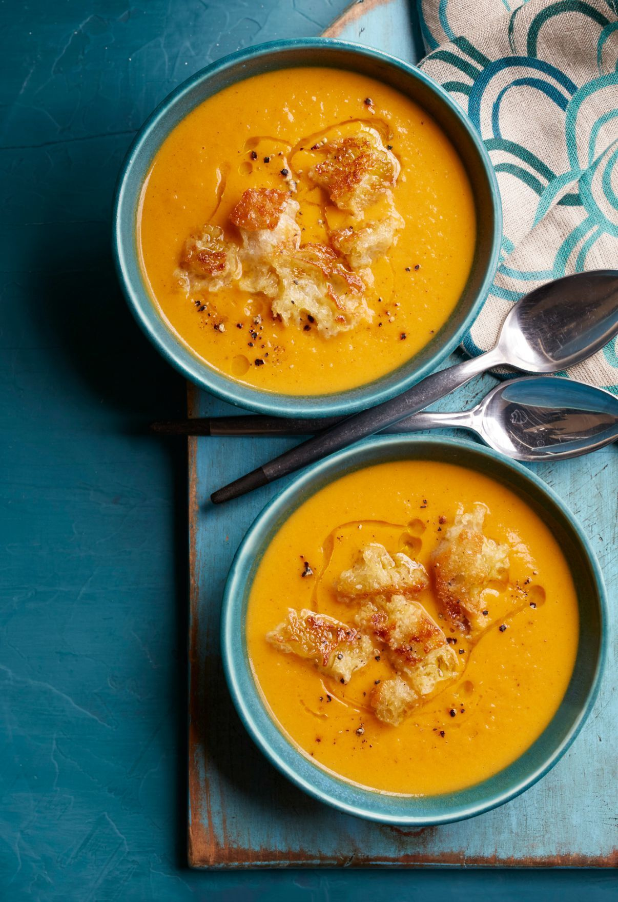 Cinnamon-Spiced Sweet Potato Soup with Maple Croutons