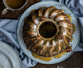 Gingerbread Bundt Bake with Toffee Sauce