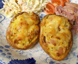 Bacon & Cheddar Twice Baked Potatoes - jackets with knobs on!