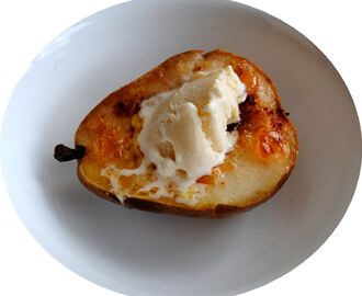 Gorgonzola Blue Cheese Ice Cream and Baked Honey Roasted Pear