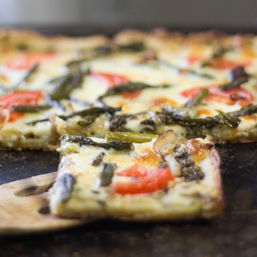 Gluten Free Pesto Pizza with Aspargus and Tomatoes