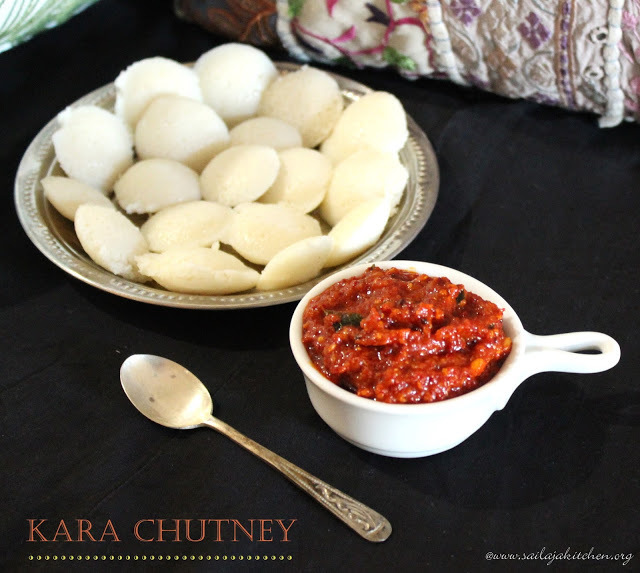 Kara Chutney Recipe / Milagai Chutney Recipe / Red Chilli Chutney Recipe- Chutney For Idly And Dosa