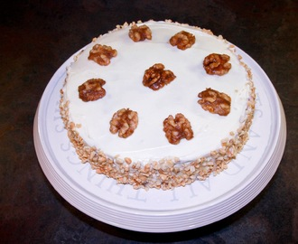 Carrot cake with cream cheese frosting and caramelised walnuts