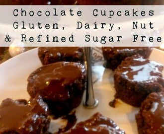 Chocolate Cupcakes: Free of Gluten, Dairy, Nuts & Refined Sugar