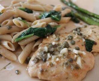 Chicken Piccata with Sauteed Spinach Pasta