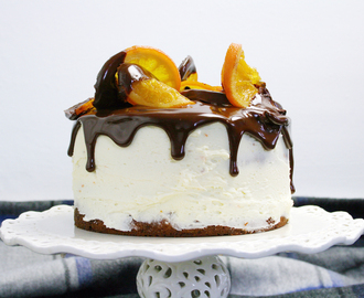 chocolate clementine marble layer cake with marmalade ganache and candied oranges