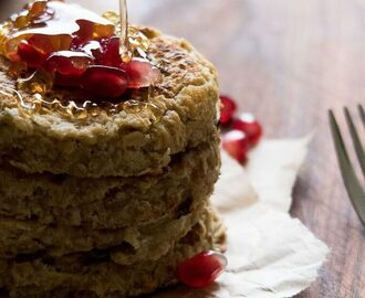 Nigella-inspired Vegan Oat Pancakes with Pomegranate & Maple Syrup
