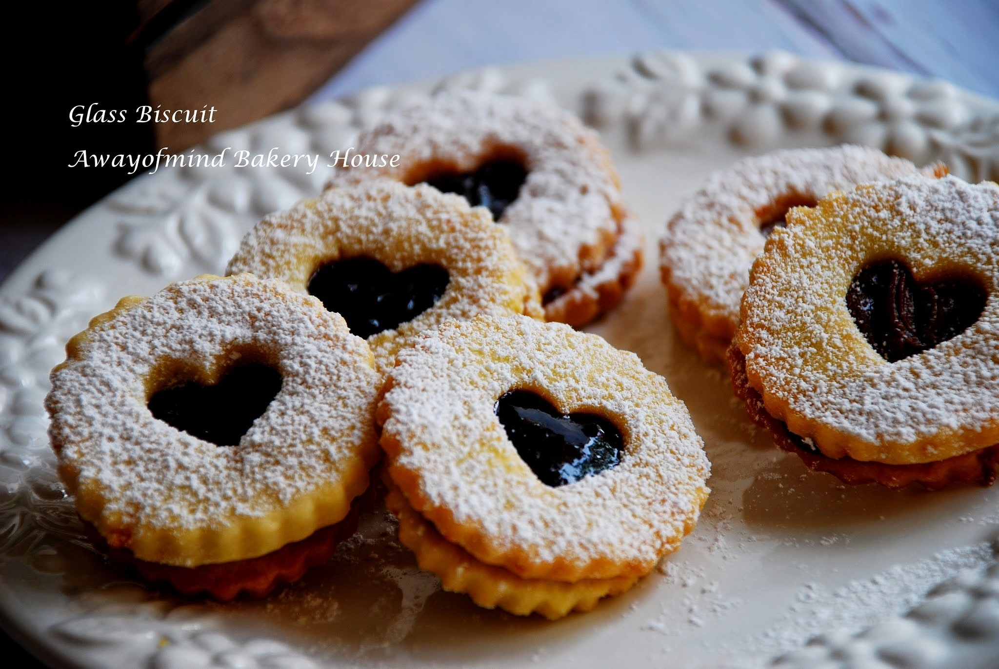 Glass Biscuit/ Jam Heart Cookies