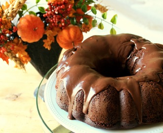 Double Chocolate Bundt Cake with Chocolate-Honey Ganache